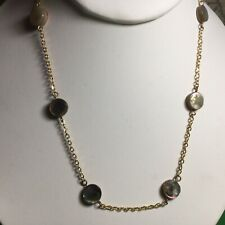 "Pretty Vintage 17"" Mop Choker Style Necklace Goldtone Mother Of Pearl Nice"