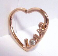 18k Rose Gold Heart Cartilage Hoop Ring Seamless 16 gauge 16g
