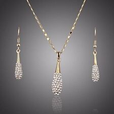 Bridal Jewellery Set Made With Swarovski Crystals Drop Pendant Necklace Earrings