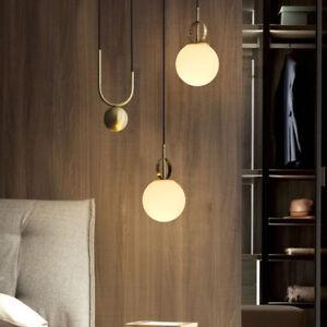 Nordic Style Mini White Glass Globe LED Golden Linear Pull Down Pendant Lights