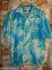 Nani of Hawaii vintage Aloha Shirt Blue Flowers Size small Hawaiian Pocket