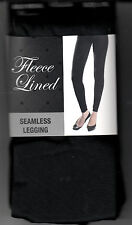 Ladies Leggings, Black Fleece Lined Seamless by Gold Medal, L/XL, New