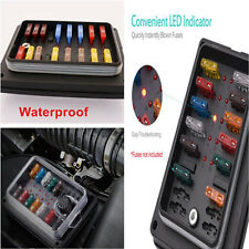 1x LED Indicator Car Blade Fuse Box Holder Block ATC ATO 10-Way Waterproof Cover