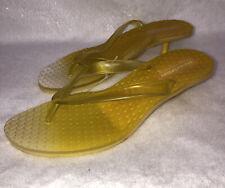 Delicious Sandals Kitten Heel Thong Gradient Yellow Neon Slip On Jelly Women's 8
