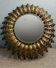 Vintage Gold Leaf Mirror With Backlight in Metal Frame Gorgeous