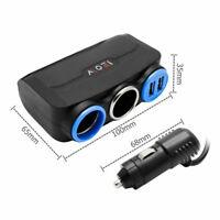 2 Way Dual Socket Splitter Car Cigarette Lighter USB Charger Adapter DC12V Black