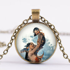 Baby and Mermaid Glass Dome Necklace Chain Pendant wholesale bronze