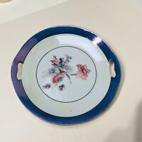 "VTG Hand painted Porcelain Handled Cake Plate Germany 9.5"" Glazed Periwinkle"