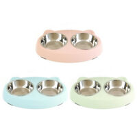 Stainless Steel Pet Dog Cat Feeding Bowls Double Puppy Food Water Feeder #JT1