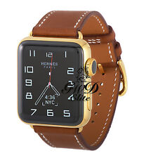 18k Gold Plated 42MM HERMES Apple Watch SERIES 3 Brown Fauve Single Tour