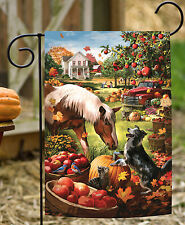 NEW Toland - Autumn Farm - Colorful Fall Barnyard Horse Dog Harvest Garden Flag
