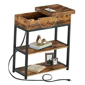 End Table with Charging Station, Narrow Flip Top End Side Table 1 Rustic Brown