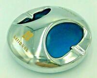 Vintage Mid Century Modern Space Atomic era retro Blue & chrome ashtray 1960's