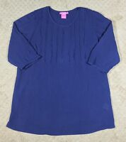 NWT Women's Woman Within Blue Cotton Gauze 3/4 Sleeve Tunic Top-Size M
