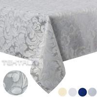 "Tektrum 60""X102"" Rectangular Damask Tablecloth-Waterproof/Stain Resistant -Gray"
