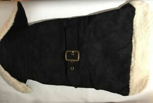 Snooty Dog Madison Avenue Black Trench Coat Sherpa Trim Lining 12-15 inch