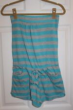 Drew  Ladies TURQUOISE & GRAY  Striped Romper With Pockets Size SMALL