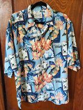 Men's XL Aloha Shirt  Party Wear Hawaiian Luau Blue Floral & Ukulele Graphics