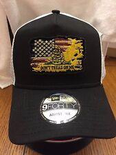 New Era Black/White Mesh Snapback Hat/Cap Distressed American Flag Gadsden NE205