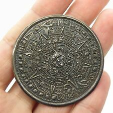 Mexico Vtg 925 Sterling Silver Mayan Calendar Large Pin Brooch Pendant