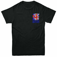 Proud To Be British Embroidered T-Shirt, American Flag And Gift Workwear Tee Top
