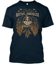 I Support Native American Rights XL Navy Blue Fruit of the Loom T-Shirt