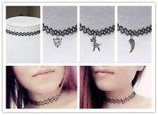 Punk Tattoo Choker Stretch Necklace Black Retro Henna Elastic Boho 90s Gothic CN