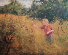 Pretty Girl Picking Wild Plums field med. original oil painting  Margaret Aycock