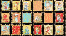 "Loralie Whoa Girl Cowgirl Western Lady Scene Blocks Cotton Fabric 24""X44"" Panel"