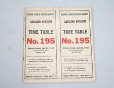 1949 Railroad Timetable Chicago & North Western Ashland Division No. 195