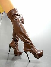 MORI ITALY OVERKNEE NEW HIGH HEEL BOOTS STIEFEL STIVALI LEATHER BROWN MARRONE 39