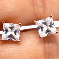 1.5 Ct Cushion Moissanite Earring Stud Women Wedding Jewelry 14K Rose Gold