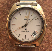 Vintage Zenith Men's Electronic Watch Quartz Gold Untested No Crown Swiss