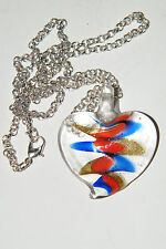 "HEART Necklace Lampwork RED BLUE GOLD 3-D Look Love Heart Glass 22.5"" Chain NEW!"