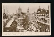 LONDON Cheapside Bow Church St Paul's Cathedral RP PPC 1917 by Kingsway