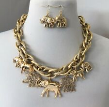 Gold Tone Colored Thick Chain Animal Elephant Shape Charm Pendants Necklace