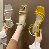 Women Casual Open Toe Slingback Sandals Ladies Ankle Strap Mid Block Heels Shoes