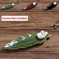 Leaf Copper Incense Burner Stick Ash Catcher Home Holder Buddhist Temple Decor