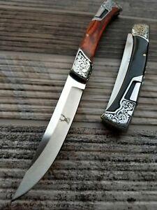 "9"" TheBoneEdge Folding Open Blade Pocket Knife 3CR13 Steel Engraved Wood Handle"