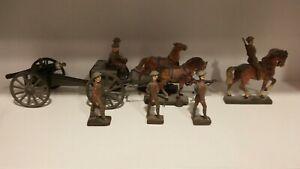 Rare Pre War Lineol Cannon, Caisson, Horses 9 cm. Set
