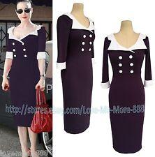 NEW WOMENS Retro CASUAL Wear  Work PARTY SLIM SHIFT Bodycon MIDI Dress PURPLE XL