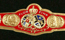 389AM-VITOLA Antigua-Old Cigar Band-Marca FLOR FINA