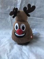 Animated Poop Emoji Dancing & Tooting Christmas Reindeer Plush Toy Plays
