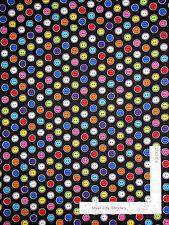Sewing Button Toss MultiColor Black Cotton Fabric Benartex #8162 Sew Easy ~ YARD