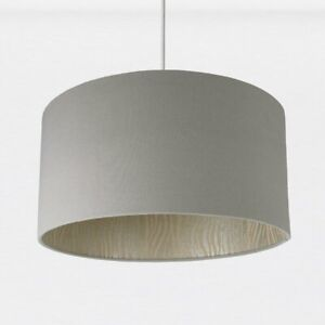 Cotton Drum Pendant Lamp Shade Grey 20H x 40cm Dia. House Additions
