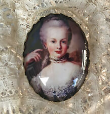 MARIE ANTOINETTE Oval Glass Dome BUTTON Antique Queen Paris Art French Painting