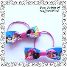 Disney Princess Hair Bows - Blue & Pink Clips Or Bobbles (Design #5) - U Choose