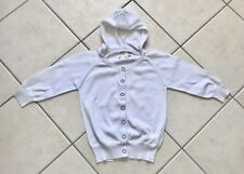 Pull coton blanc manches 3/4 à col rond et capuche OKAIDI Taille 10 ans