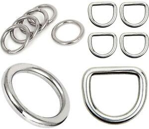 Stainless Steel D-RINGS & O-RINGS ~ Webbing Leathercraft WELDED BUCKLES Rings