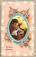 Antique Vtg 1910's LITTLE GIRL WITH DOG Happy Birthday Wishes Greeting Postcard
